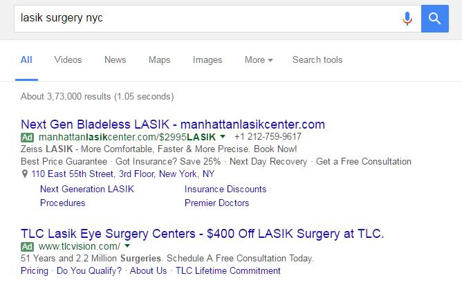 ตัวอย่าง การเขียนโฆษณา ศัลยกรรมเลสิคที่นิวยอร์ก