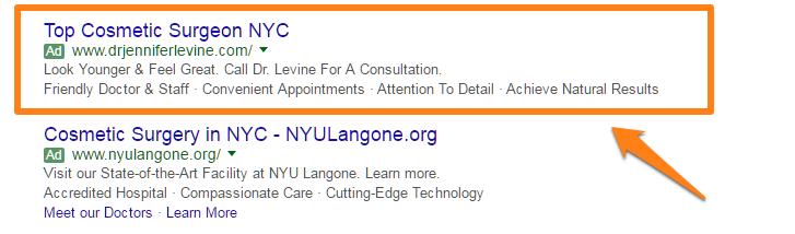 ตัวอย่างการเขียนโฆษณาศัลยกรรมความงามที่นิวยอร์ก